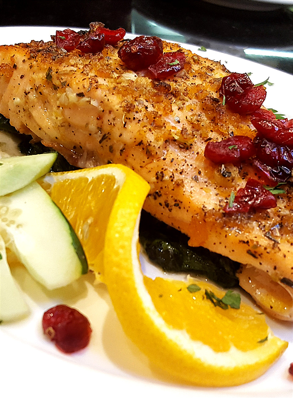 Salmon Over Sautéed Spinach and Cranberries
